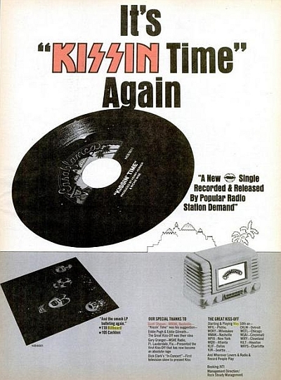 "Billboard ad promoting ""Kissin' Time"" single"