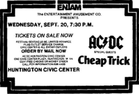 Concert ad for my first Cheap Trick show
