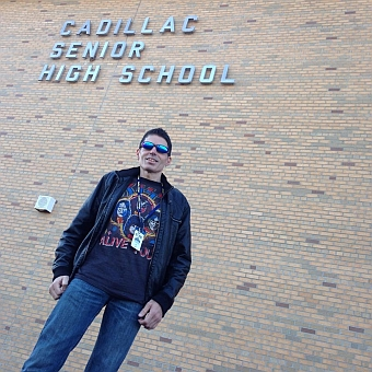Here's a pic of myself just prior to entering Cadillac High School for the Mr. Speed concert in the gymnasium.