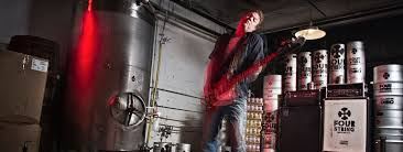 Dan Working on Gonna Raise Hell at his Brewery. Photo by Chris Casella. Bass Tuning by Oscar.