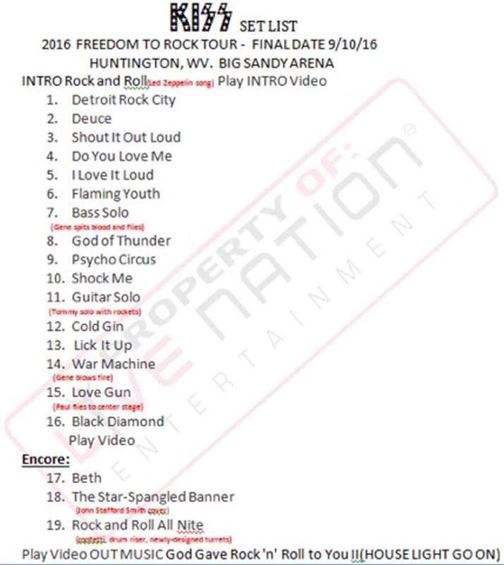 The Freedom To Rock Tour set list September 10, 2016