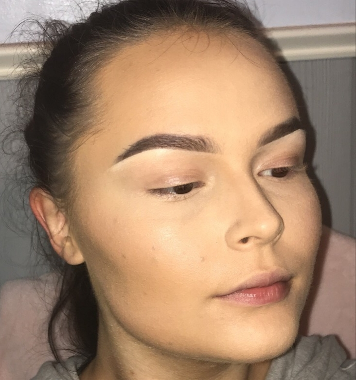 Lightly blend the product into the skin.