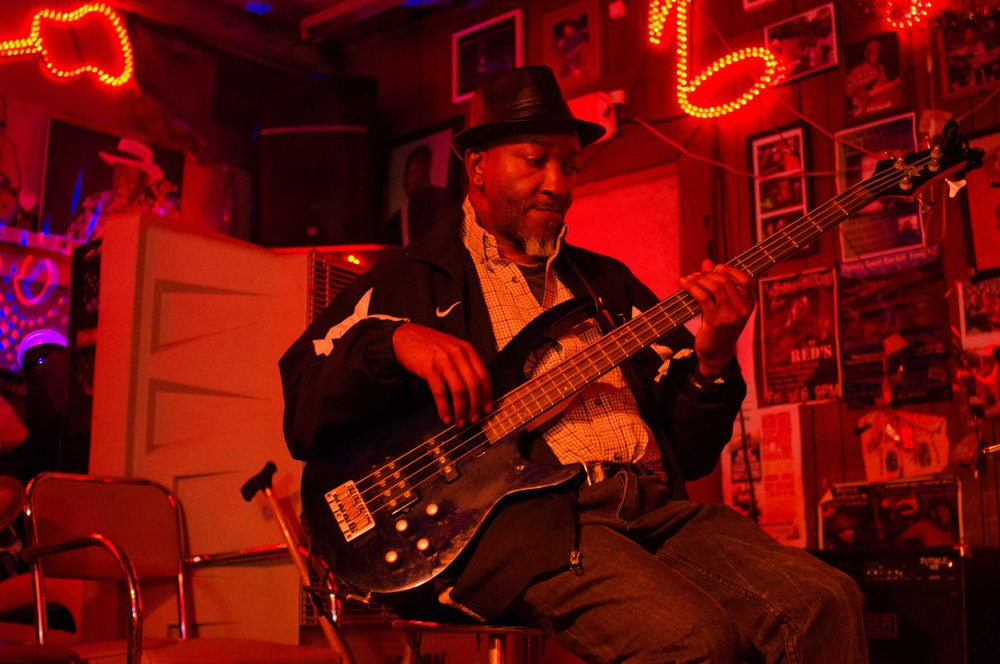 Harvell Thomas, local bass player from The Stone Gas Band, Clarksdale, MS
