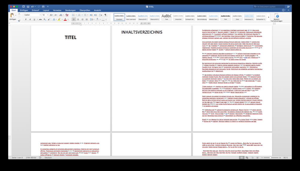 Beispielsdokument: Noch ohne Seitenzahlen oder Formatierungen