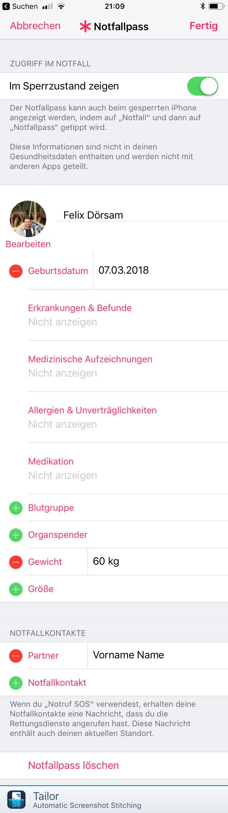 Notfallpass iOS iPhone Emergency Call