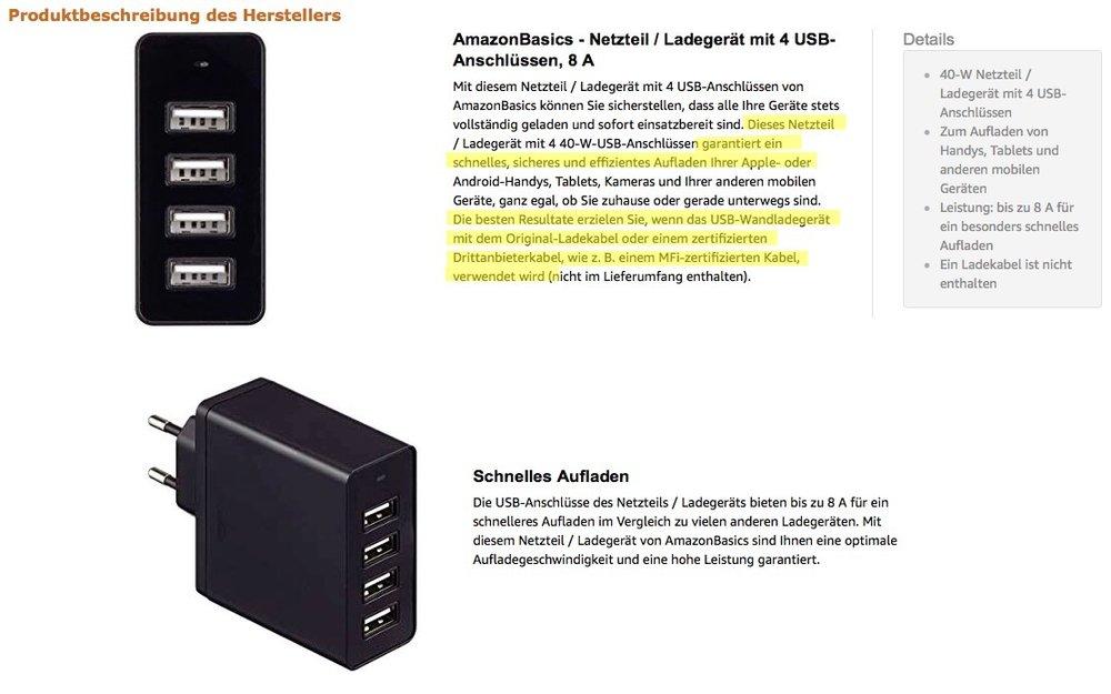 AmazonBasics Netzteil Produktbeschreibung