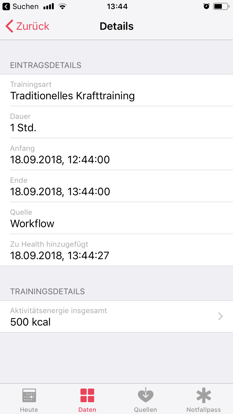 iOS 12 Shortcut - Sport in Health App