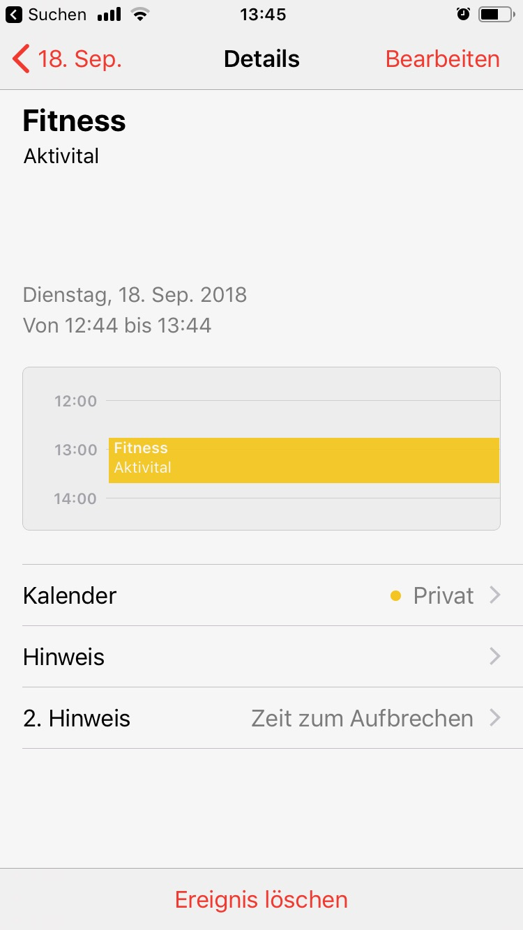 iOS 12 Shortcut - Sport Kalender Eintrag