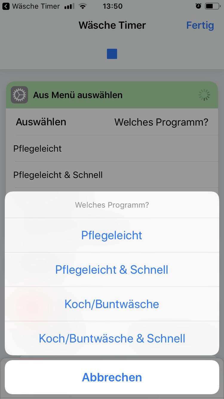 iOS 12 Shortcut - Wäsche Timer - Abfrage