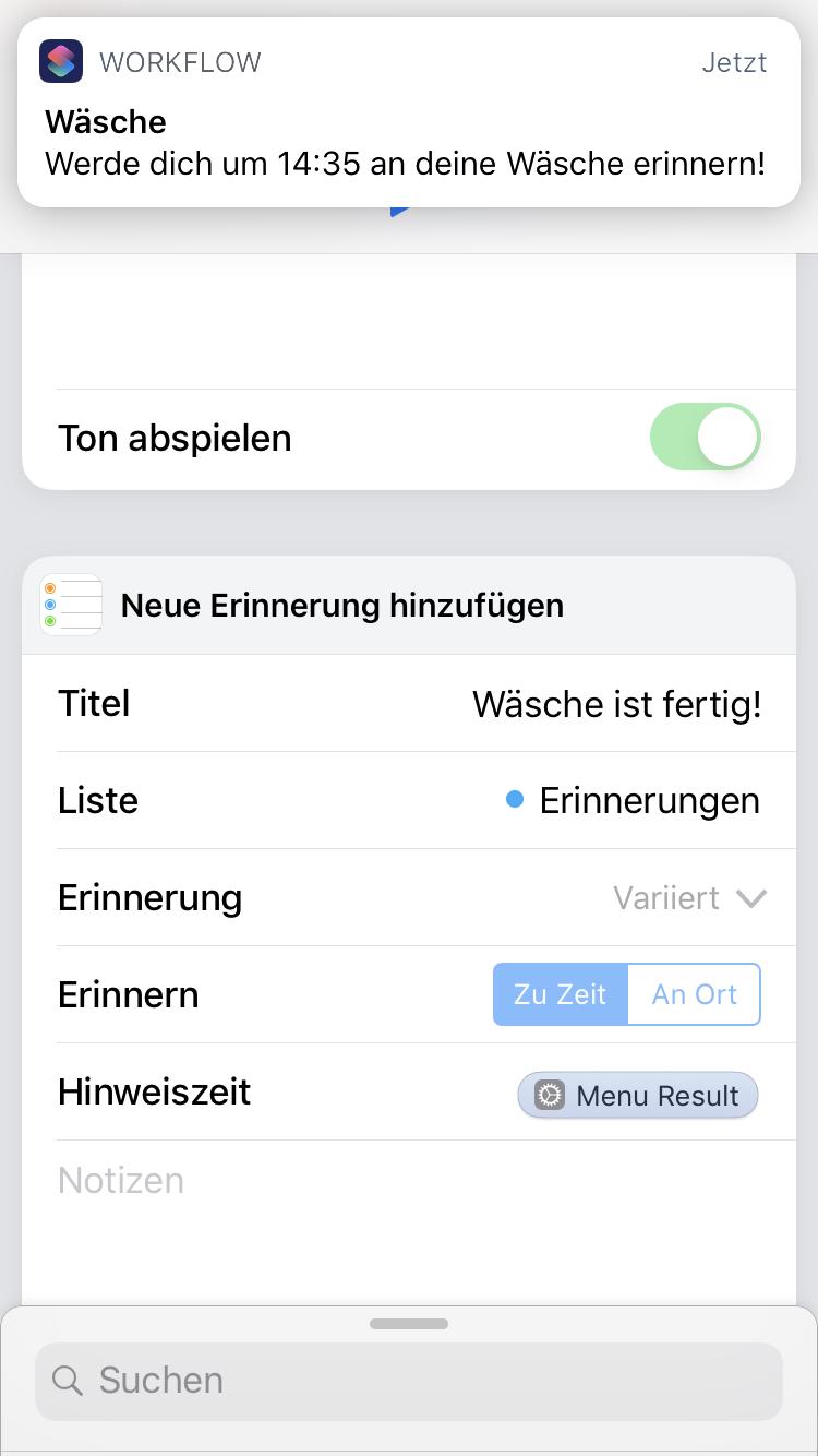 iOS 12 Shortcut - Wäsche Timer - Ergebnis