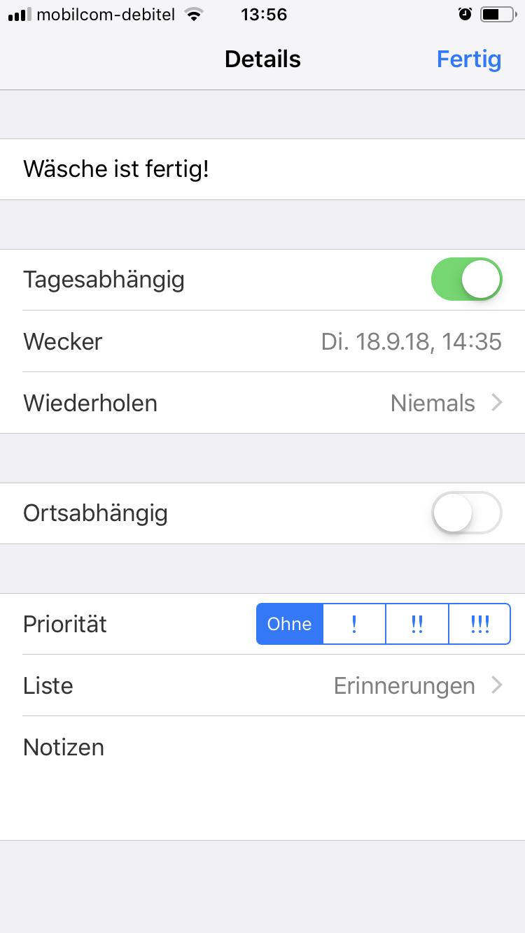 iOS 12 Shortcut - Wäsche Timer - Erinnerung