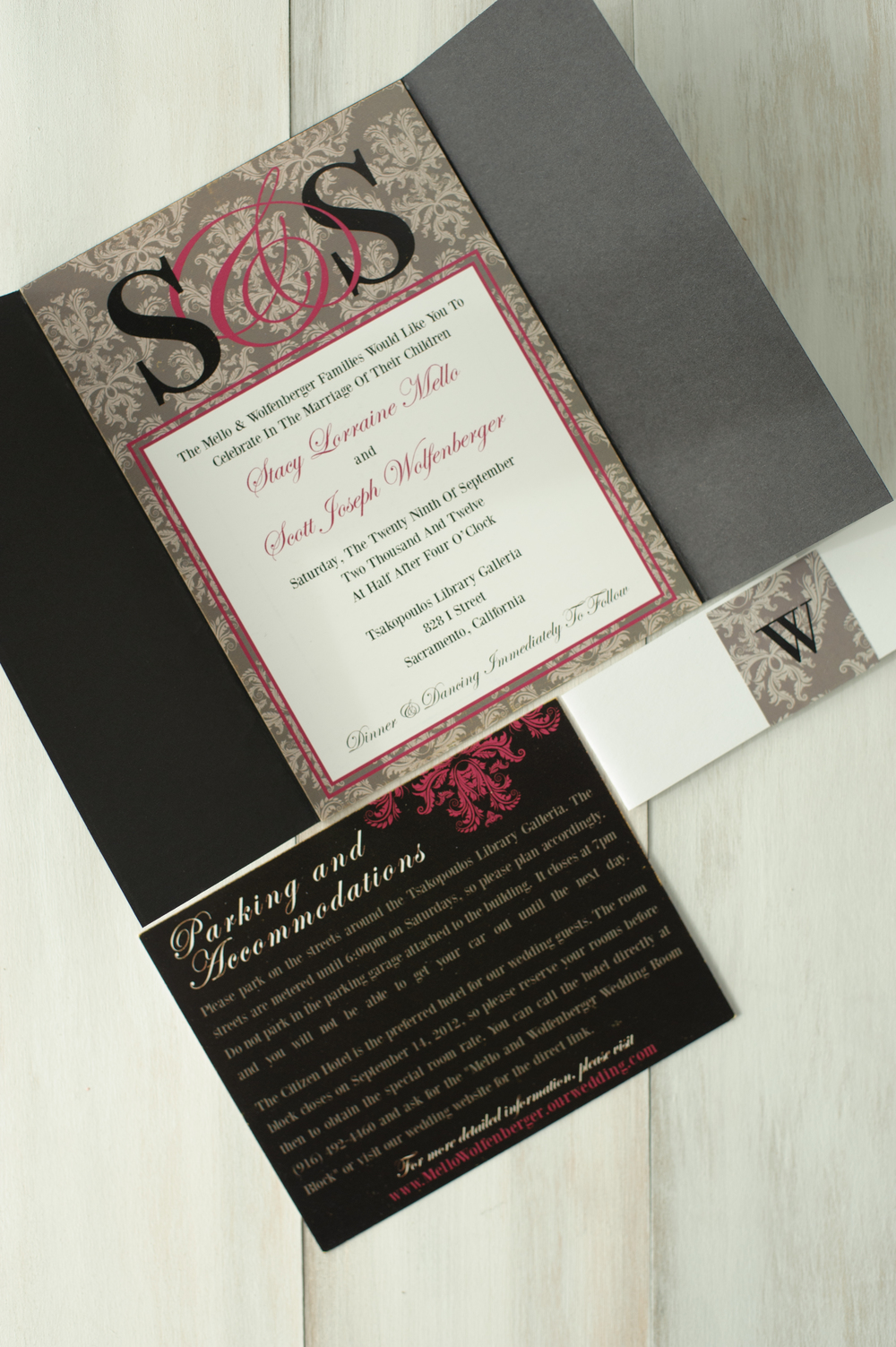Custom Damask Wedding Invitation Set