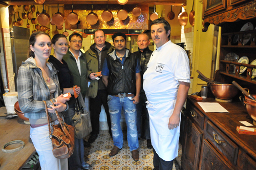 The Scottish delegation with Alain Grespier in La Mère Poulard's kitchen.
