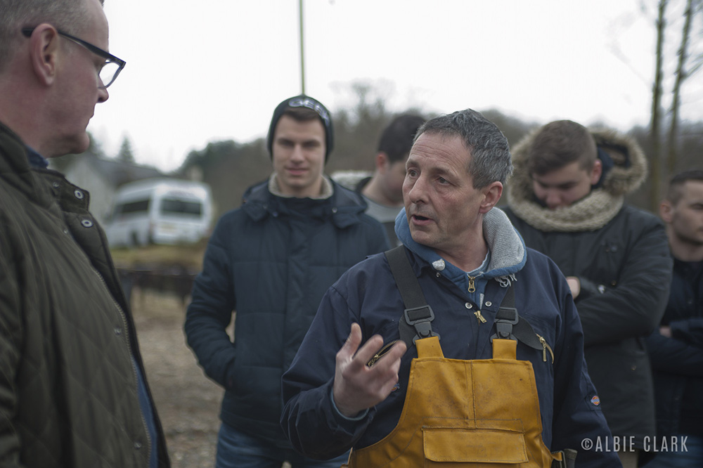 Touring the oyster farm with André Hughes and Roy Brett