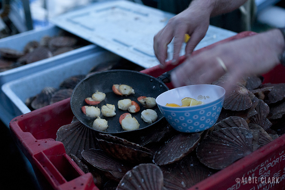Scallops on the go and on the boat. You can't get them fresher than that