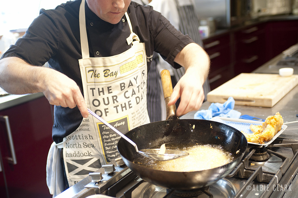 Calum Richardson, fish & chips master, demonstrates…