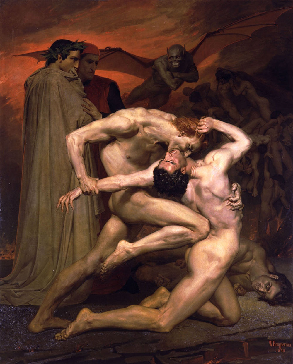 "Bouguereau, ""Dante and Virgil in Hell"""