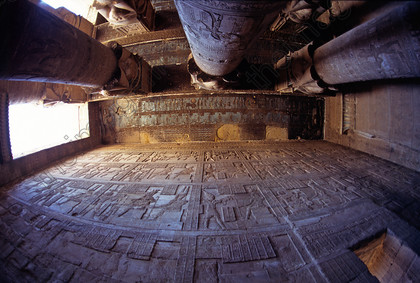 Images of the sky goddess Nut in the Temple of Dendera