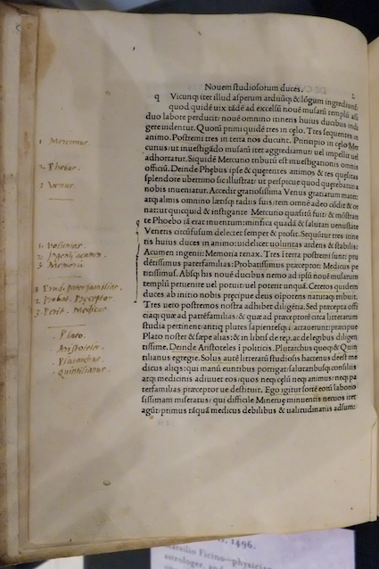 Page from an annotated copy of Marsilio Ficino's De vita libri tres, 1496