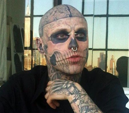 Break-out fashion model and body-mod icon, Zombie Boy