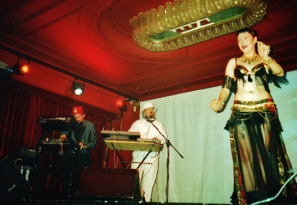 The Anubian Lights (Len Del Rio and Tommy Grenas) in Berlin, 2001, with dancer Spencer.