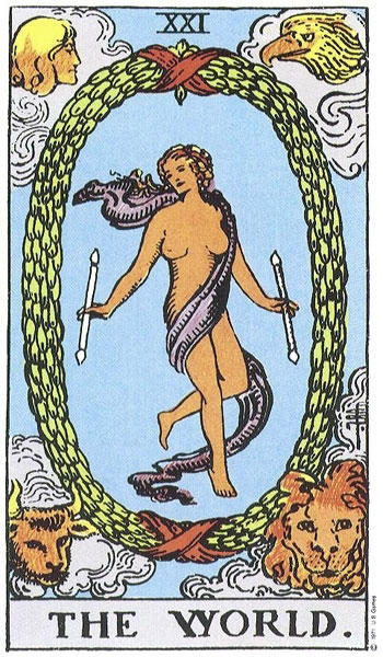 The World card in the Rider-Waite deck