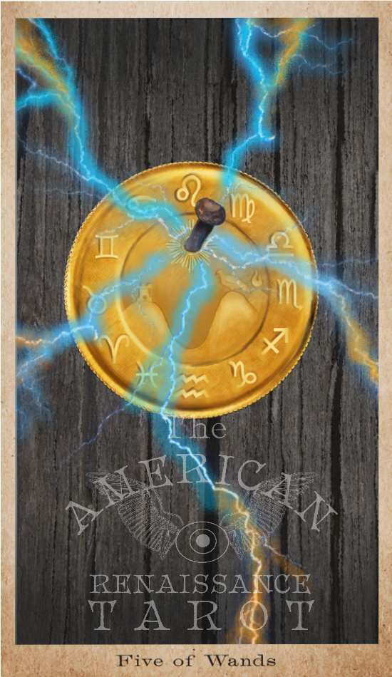 "The  Five of Wands  for  The American Renaissance Tarot,  an ode to the ""Doubloon"" chapter of  Moby-Dick .  Click the image to find out more."