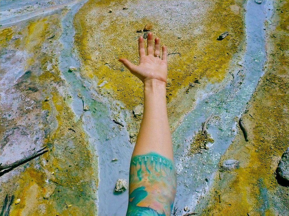Me revisiting the site of my sulfur cloud tattoo inspiration at the aptly-named Bumpass Hell in Northern California.