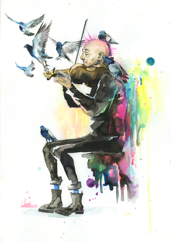 Old Man Punk and Violin