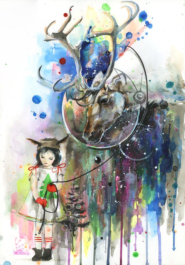 Girl and Cosmo Reindeer
