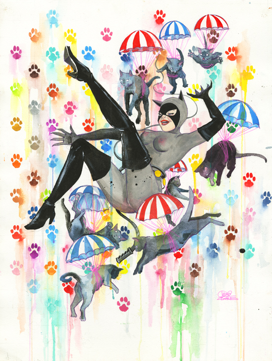 Catwoman and Parachute Cats