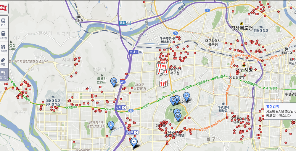 The red dots are chicken restaurants on my side of town (West Daegu, South Korea).