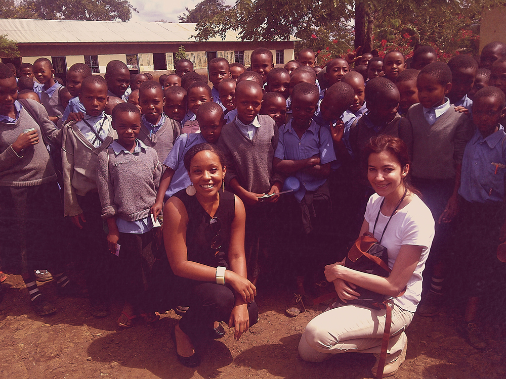 Visiting with students at a school in Tanzania.
