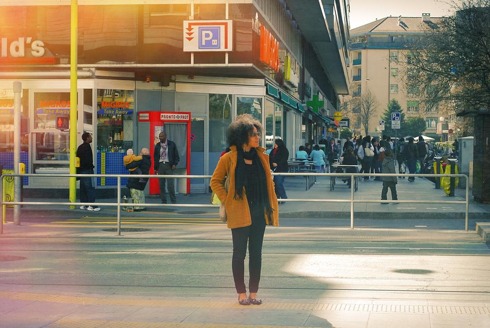 Waiting for the tram in Geneva, Switzerland.