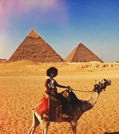 In Egypt, at the pyramids at Giza.