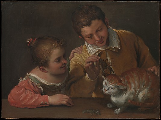 Two Children Teasing a Cat Annibale Carracci (Italian, Bologna 1560–1609 Rome).
