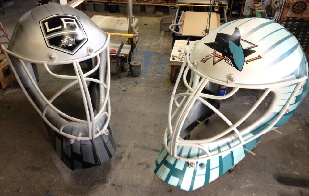NHL giant goalie helmets