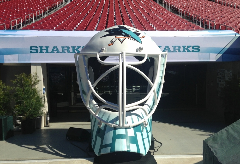 helmet at the stadium