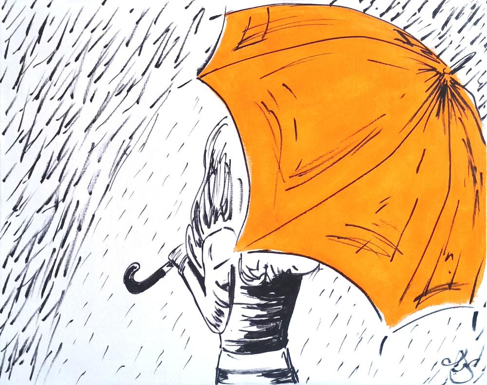 "Girl with Umbrella, 24""x30"" Acrylic on Canvas. Copyright 2015."