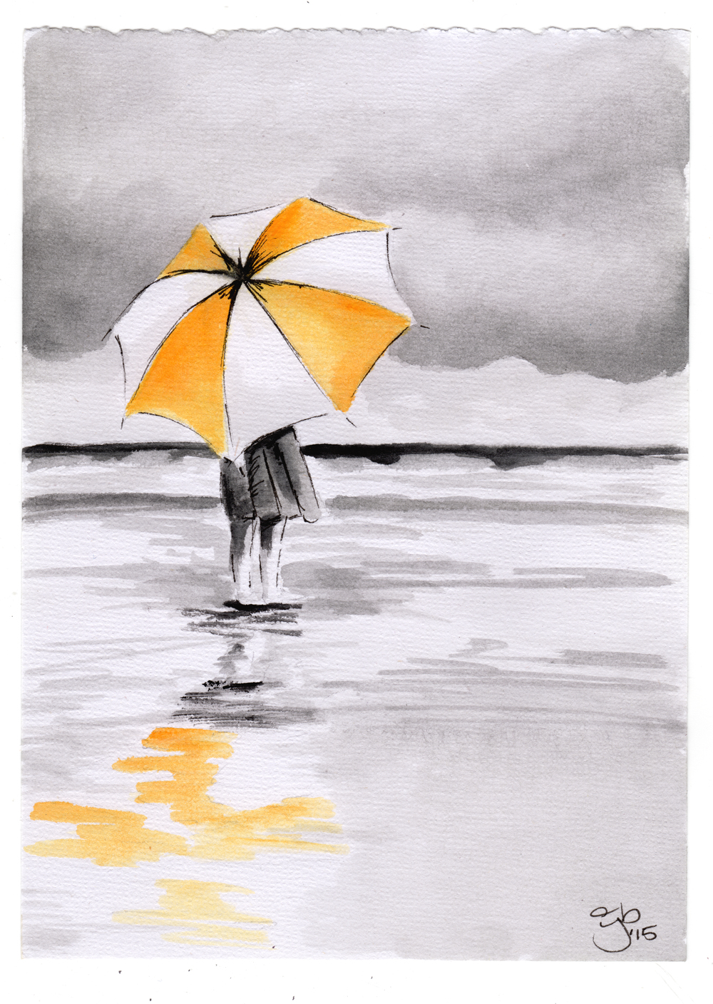 "Quiet Moments.  5""x7"" Watercolor on Watercolor Paper. Copyright 2015, Jamie P Bruno"