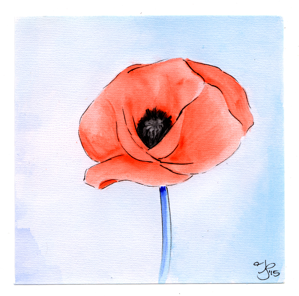 "Poppy.  5""x5"" Watercolor on Watercolor Paper. Copyright 2015, Jamie P Bruno"
