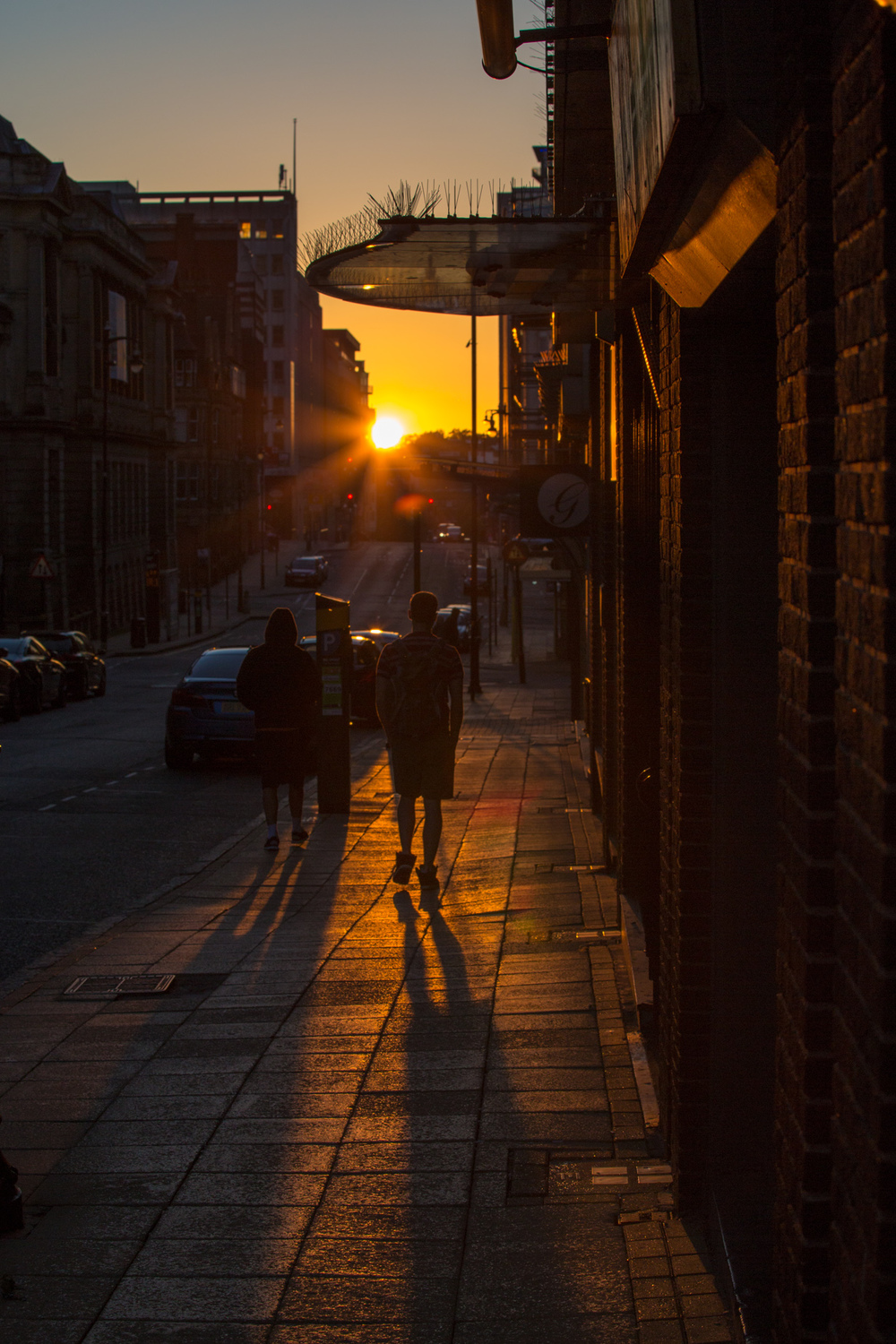 Sun almost in position at the end of Newhall Street 7th June 2015