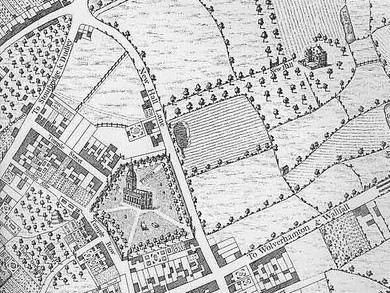 Map of Birmingham in 1731. New Hall Lane is now Colmore Row, with Newhall Street shown as the avenue down to the mansion.