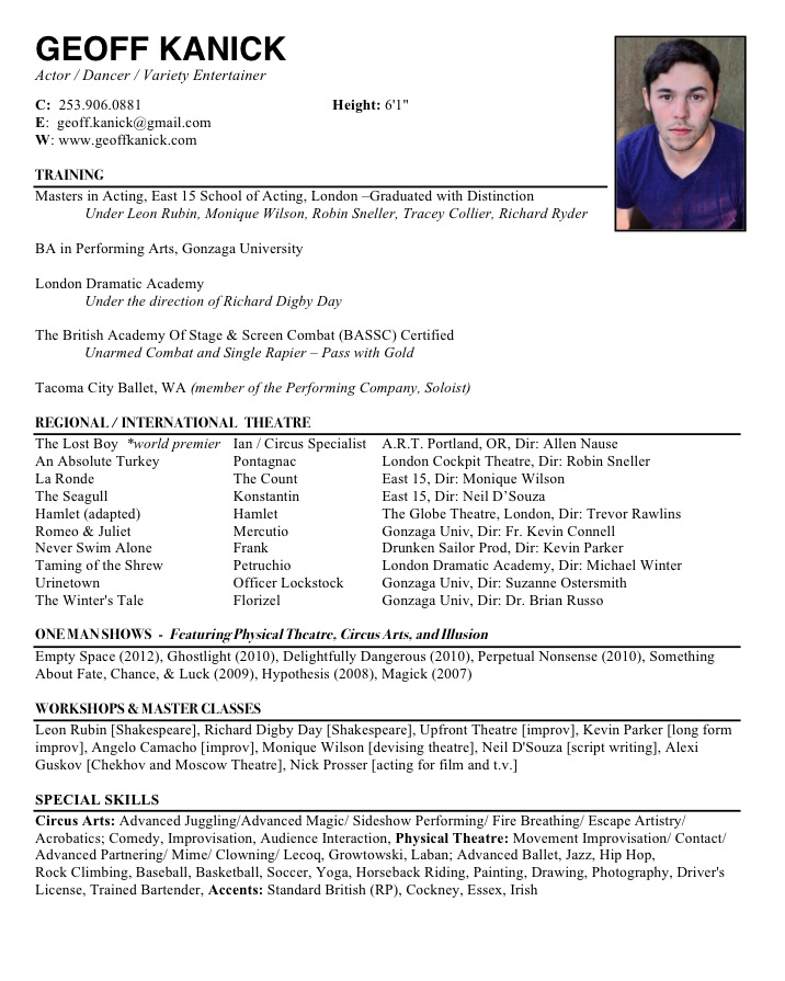 special skills for an acting resume woman samtgt ru acting resume example template