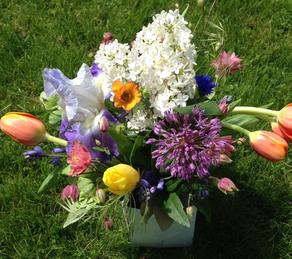 A spring subscription delivery with tulips, allium, iris and lilac, among others.