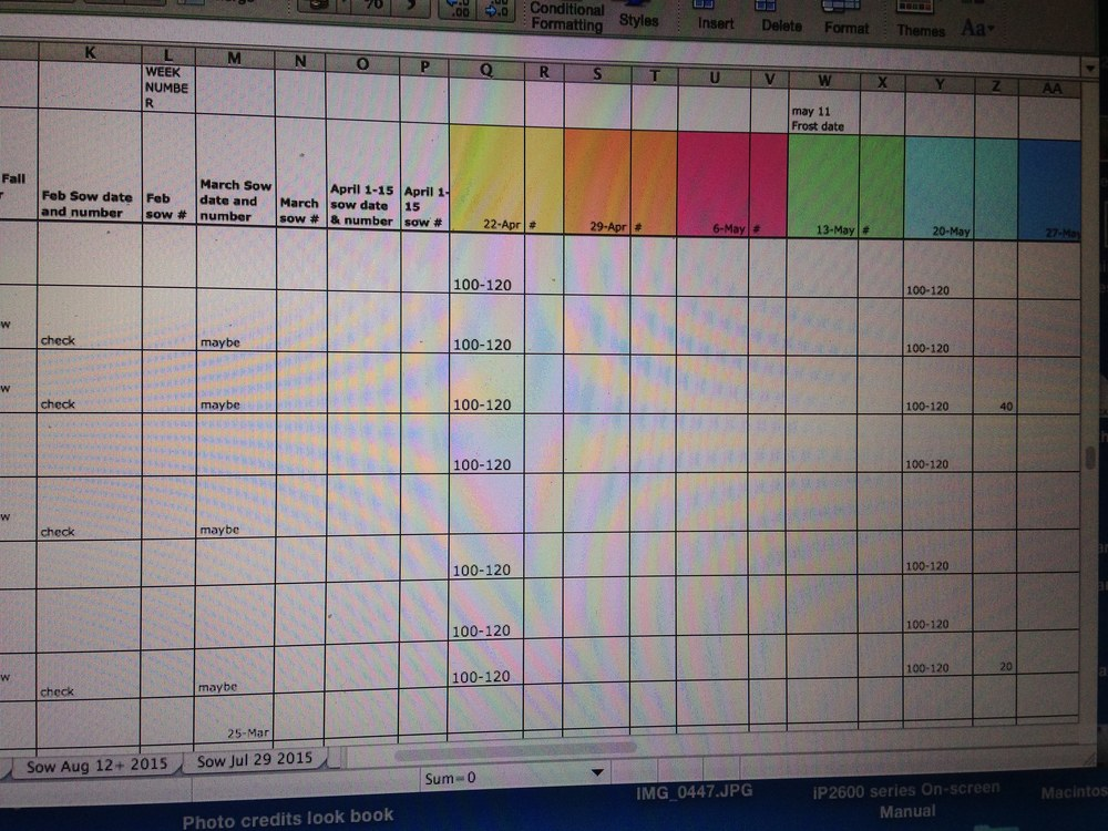 Spreadsheets rule my winter months!