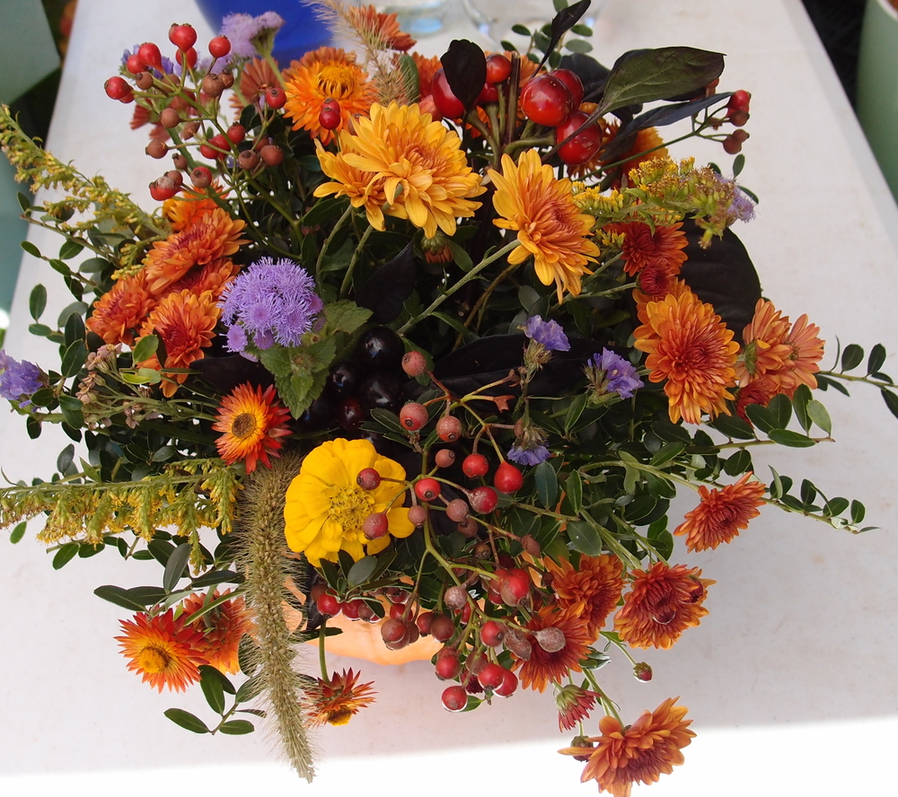 Rose hips, grasses, goldenrod all give an autumn thrill to the season's design work. Photo Pat Feher.