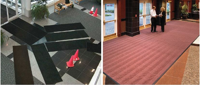 Rental mats are thin and have to be rented in groups to handle a single job. Custom-cut mats are hard-working, enhance the appearance of your entryway, and can be cleaned in place for long-term savings.