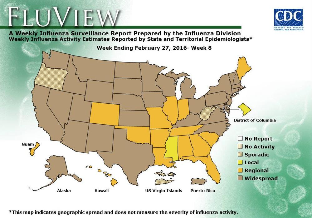 According to this week's FluView report, flu activity remains elevated in the United States.  Influenza-like-illness levels remain above the national baseline, and there are now 33 states reporting widespread flu activity. CDC reports this season's vaccine is offering significant protection against circulating viruses this season. CDC recommends an annual flu vaccine for everyone 6 months of age and older.