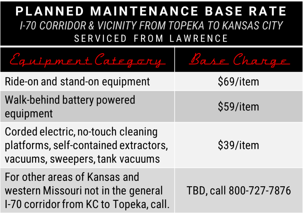 We also provide Vigilant Planned Maintenance from our Hutchinson facility. Call our Hutchinson Repair Center for details at  844-320-6123 .